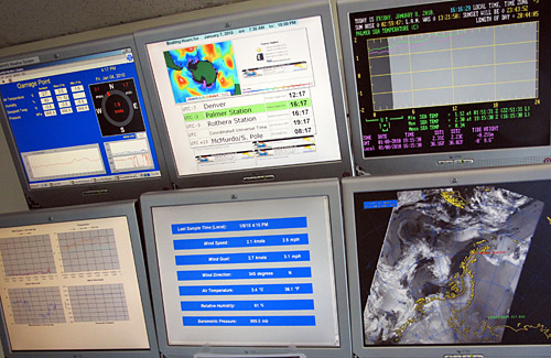 These monitors give us information on the temperature, wind speed and direction, barometric pressure, humidity, and sunrise and sunset.